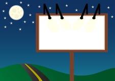Night billboard. A blank billboard standing next to a road Vector Illustration