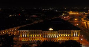 Night bird`s eye view of the St. Petersburg. Russia stock video footage