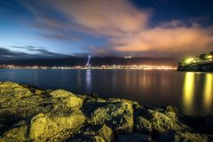 Night black sea Stock Photography