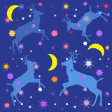 Night blue background with shapes deers, stars and moon Stock Photos
