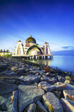 Night and blue hour scene of beautiful Malacca Straits Moqsue. Royalty Free Stock Images