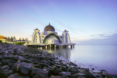 Night and blue hour scene of beautiful Malacca Straits Moqsue. Royalty Free Stock Photography