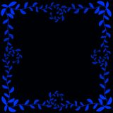 Night Blue Leafs frame border. With black background. Whimsical magical effect Royalty Free Stock Photo