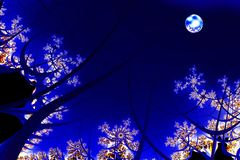 Night of the blue moon. Full moon casts blue light on the woods in a fractal-generated night scene stock illustration