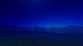Night blue ocean 3D render Royalty Free Stock Photography