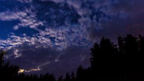 Night blue sky timelapse panorama with stars and clouds stock video