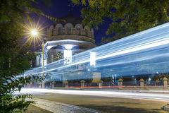 Night and blurry lights of cars on the streets Royalty Free Stock Images