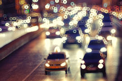 Night blurry road with motion vehicles Royalty Free Stock Photos
