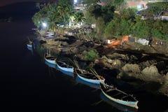 Night boats. Night photo of the boats near Querim Goa Stock Image