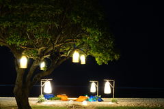 Night bokeh effect on the beach Royalty Free Stock Image