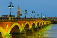 Night Bordeaux. View of night Bordeaux at summer stock photography