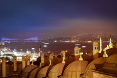 Night Bosphorus Strait, Galata Bridge and Bosphorus Bridge Royalty Free Stock Photo