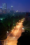 Night in boston. Night time in boston massachusetts showing the skyline and beacon street Royalty Free Stock Photo