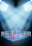 Night boxing prize ring. Vertical Background for posters night boxing prize ring in the spotlight. Editable Vector Illustration Stock Photos