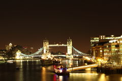 Night bridge. London shining tower brigde in the night Royalty Free Stock Photo