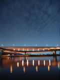 Night bridge. And highway background with light reflections in pure river water, Tokyo Japan Royalty Free Stock Images