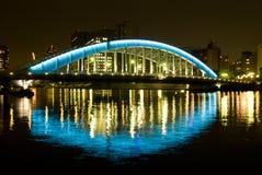 Night bridge. Night iron-bridge and reflection in river, Eitaibashi Bridge, Tokyo Royalty Free Stock Images