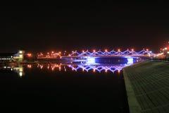 Night bridge. Across Ishim river (Astana Kazakstan Stock Photography