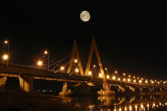 Night bridge. Royalty Free Stock Photo