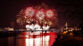 Night Bridge And Firework