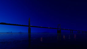 Night bridge on clear sky. 3D render Royalty Free Stock Photography