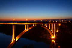 Night Bridge. In Croatia, above Plitvice river near national park Royalty Free Stock Photos