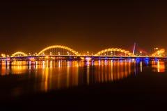 Night bridge. At Da Nang city, Vietnam Stock Image