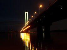 Night bridge on Dnieper river in Kiev, Ukraine Royalty Free Stock Photos
