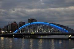 Night bridge - Eitai bashi bridge. Scenic Eitai bridge over Sumida river at night time, Tokyo Japan Royalty Free Stock Image