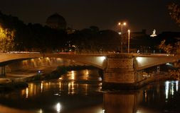 Night Bridge Elio and castle Sant Angelo, Rome Italy Stock Images