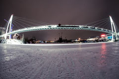 The night bridge. With endurance Royalty Free Stock Photo