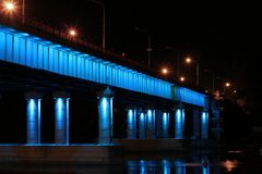 Night bridge with highlights Royalty Free Stock Photography
