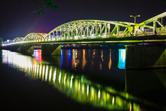 Night bridge at Hue, Vietnam Royalty Free Stock Images