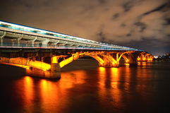 Night Bridge, Kiev, Ukraine. Kiev Metro Bridge At Night, Long Exposure Royalty Free Stock Images