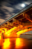 Night Bridge, Kiev, Ukraine. Kiev Metro Bridge At Night, Long Exposure Stock Image