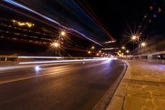 Night bridge in Nessebar lit lanterns Stock Image