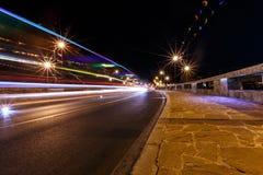 Night bridge in Nessebar lit lanterns Stock Images