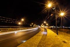 Night bridge in Nessebar lit lanterns Royalty Free Stock Photo
