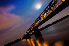 Night bridge over Danube. Northern rail-bridge at Budapest over Danube at night Stock Photography