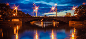 A Night Bridge Over The River Stock Photo