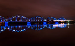 Night bridge in Riga Stock Photo