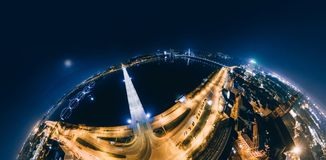 Night bridge roads in Riga city 360 VR Drone picture for Virtual reality, Panorama. Riga, Latvia, virtual, reality vr technology 360 life simulation Drone shot royalty free stock photography