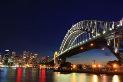 Night bridge scenes. With building and river Royalty Free Stock Images