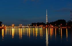 Night bridge in St. Petersburg Stock Images