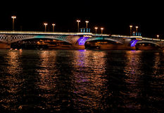 Night bridge in St. Petersburg city Stock Photos
