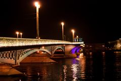 Night bridge in St. Petersburg city Royalty Free Stock Image