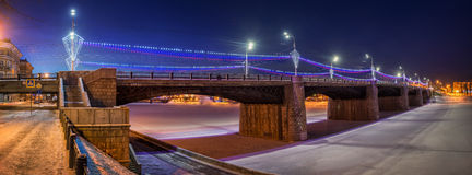 Night Bridge. In Tver in the New Year lighting Royalty Free Stock Photography