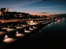 Night bridge in Warsaw Royalty Free Stock Photos