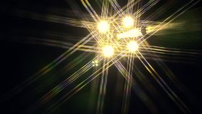 Night bright lights with rays revolve around the circle against the black sky stock footage