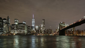 Night brooklyn bridge manhattan view 4k time lapse from new york